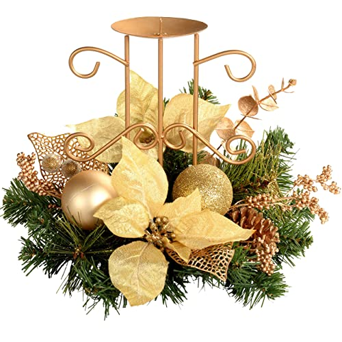werchristmas decorated table centre piece with single pillar candle holder christmas decoration 22 cm