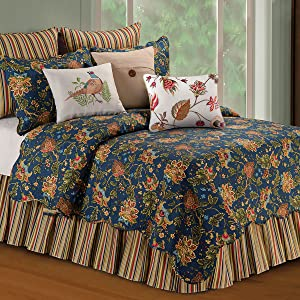 C&F Home Hartford 2 Piece Quilt Set All-Season Reversible Bedspread Oversized Bedding Coverlet, Twin Size, Blue