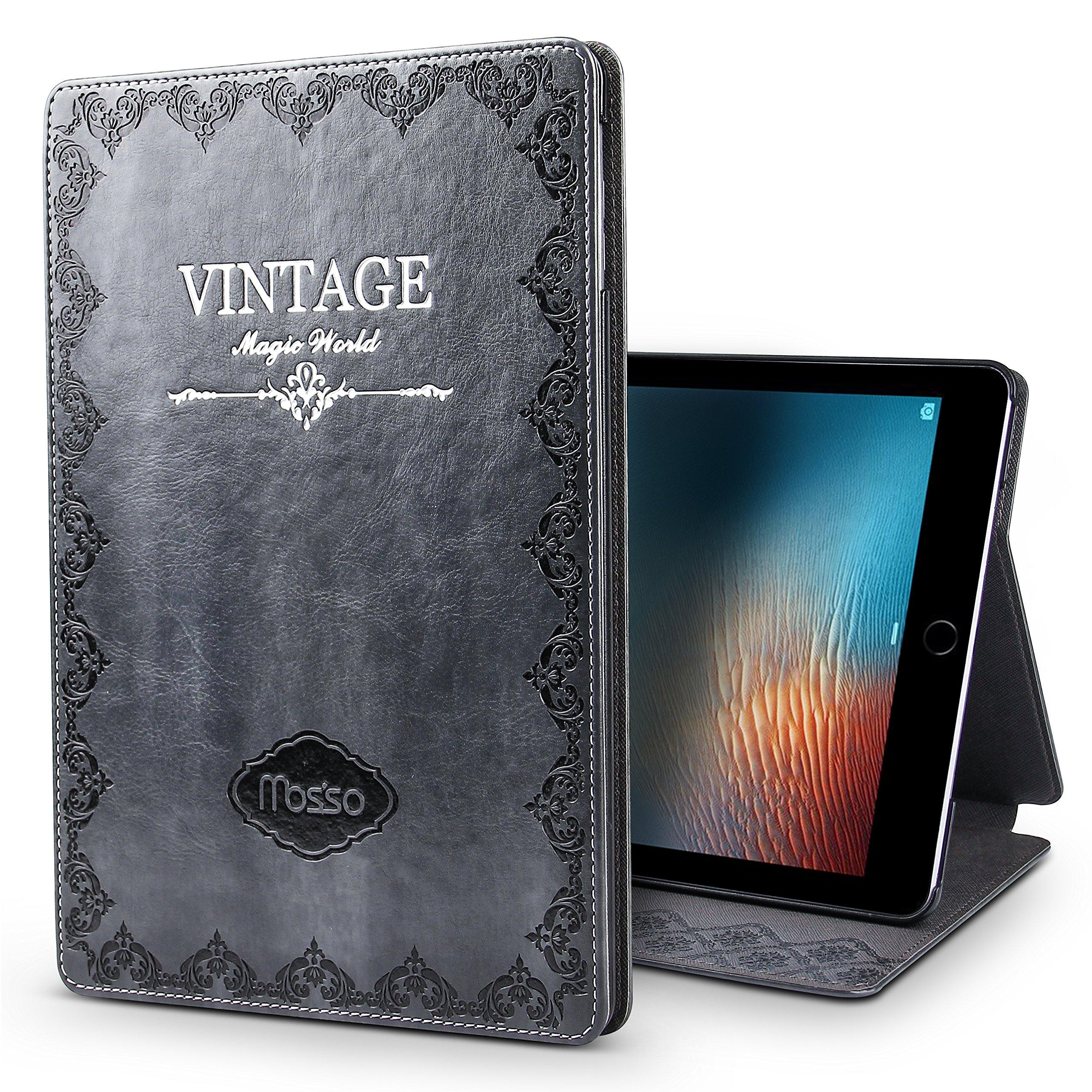New iPad 9.7 2017 Case,JGOO ''Magic World Series'' Modern Vintage Book Style Case for New iPad 9.7 Inch(2017 Release),Silm PU Leather Smart Case w/ Auto Sleep Wake & Multi Angle Stand,Grey
