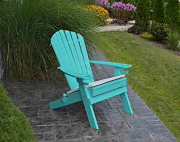 POLYWOOD ADIRONDACK CHAIR FOLDINGu20132 Two Cup Holdersu2013Foldable Poly Wood  Seating Recycled Plastic