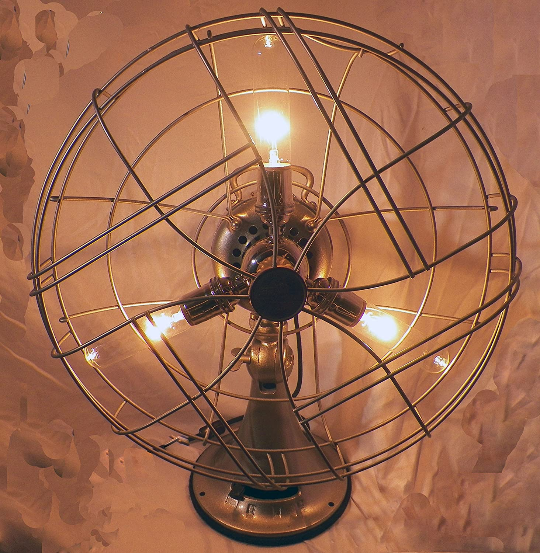 Amazon Vintage Industrial Table Fan Steampunk Art Lamp Light