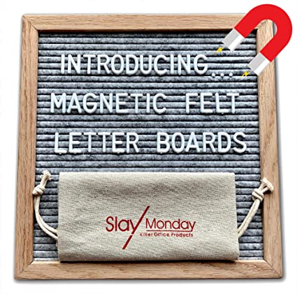 magnetic gray felt letter board with magnet frame prop stand and hanging wire by