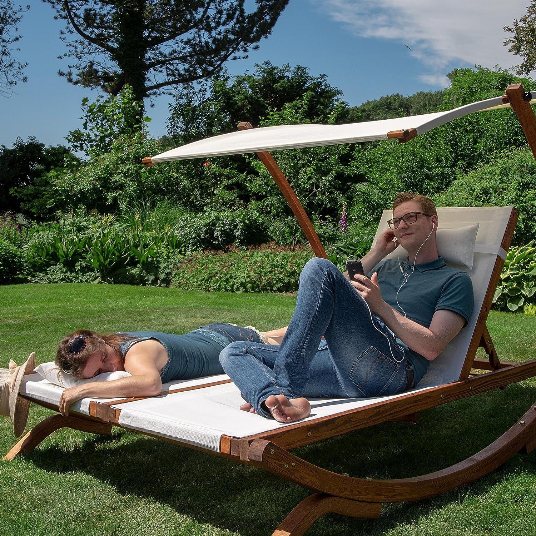 Ampel 24 Doppel-Sonnenliege Panama mit Dach schwarz, Gartenliege Gartenliege Gartenliege mit Holzgestell wetterfest, Sonnendach verstellbar, Doppelliege mit Kissen 8d0eda