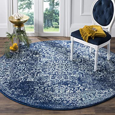 Safavieh Evoke Collection Navy and Ivory Round Area Rug, 3'