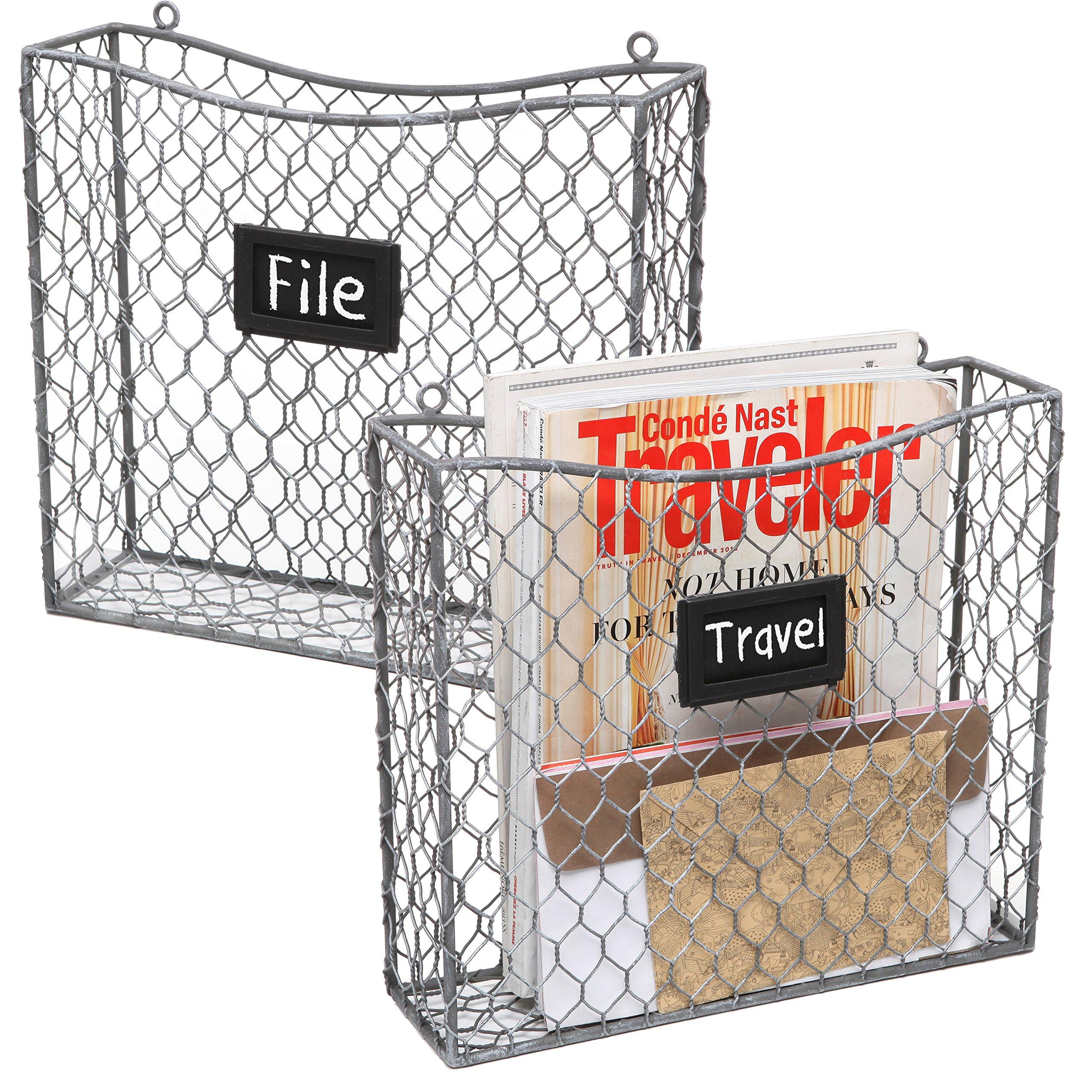 MyGift Metal Wire Wall Mounted Magazine, File & Mail Holder Basket w/ Chalkboard Label, Set of 2, Gray