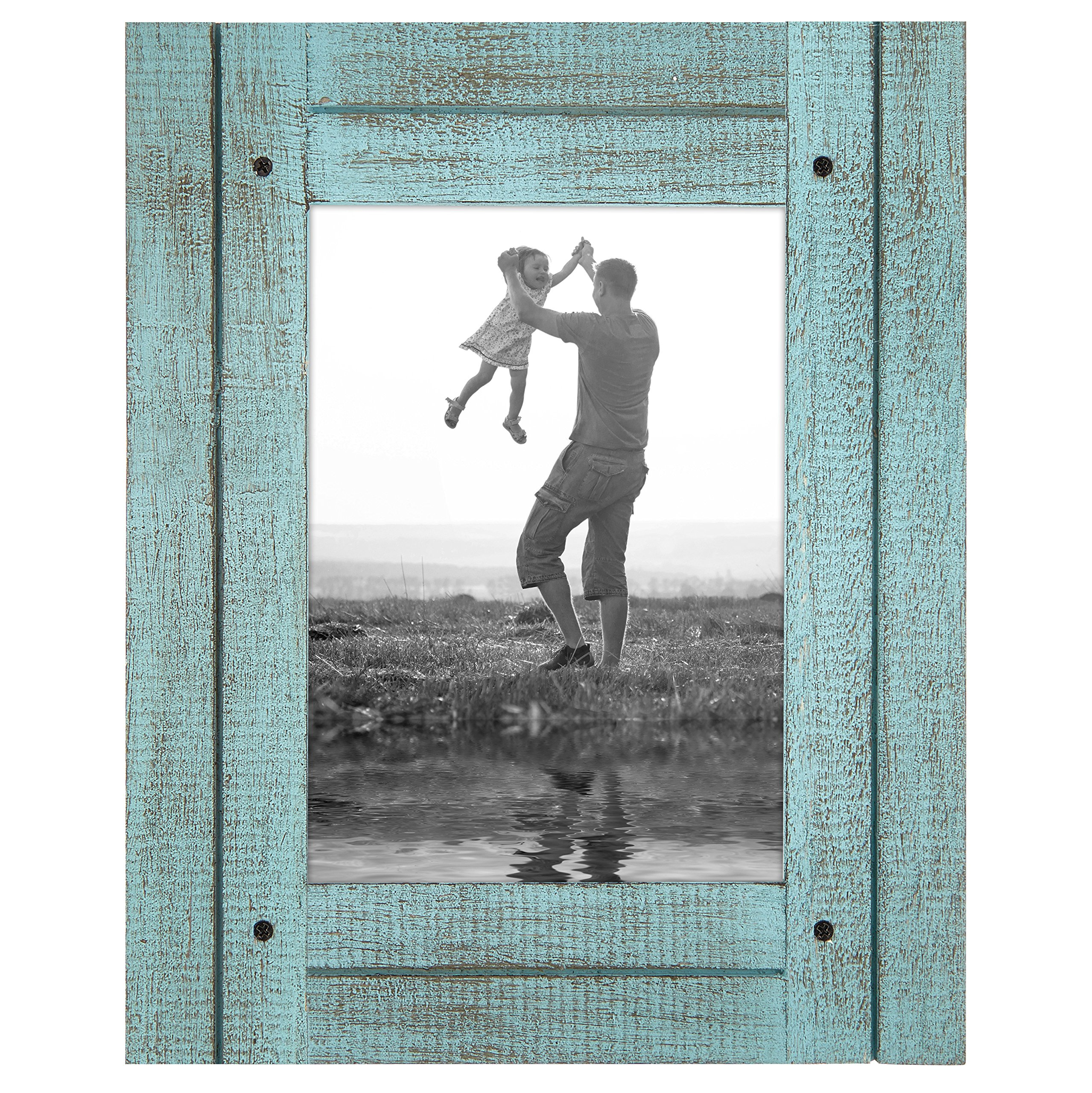 Americanflat 5x7 Turquoise Blue Distressed Wood Frame - Made to Display 5x7 Photos - Ready to Hang - Ready to Stand - Built-in Easel
