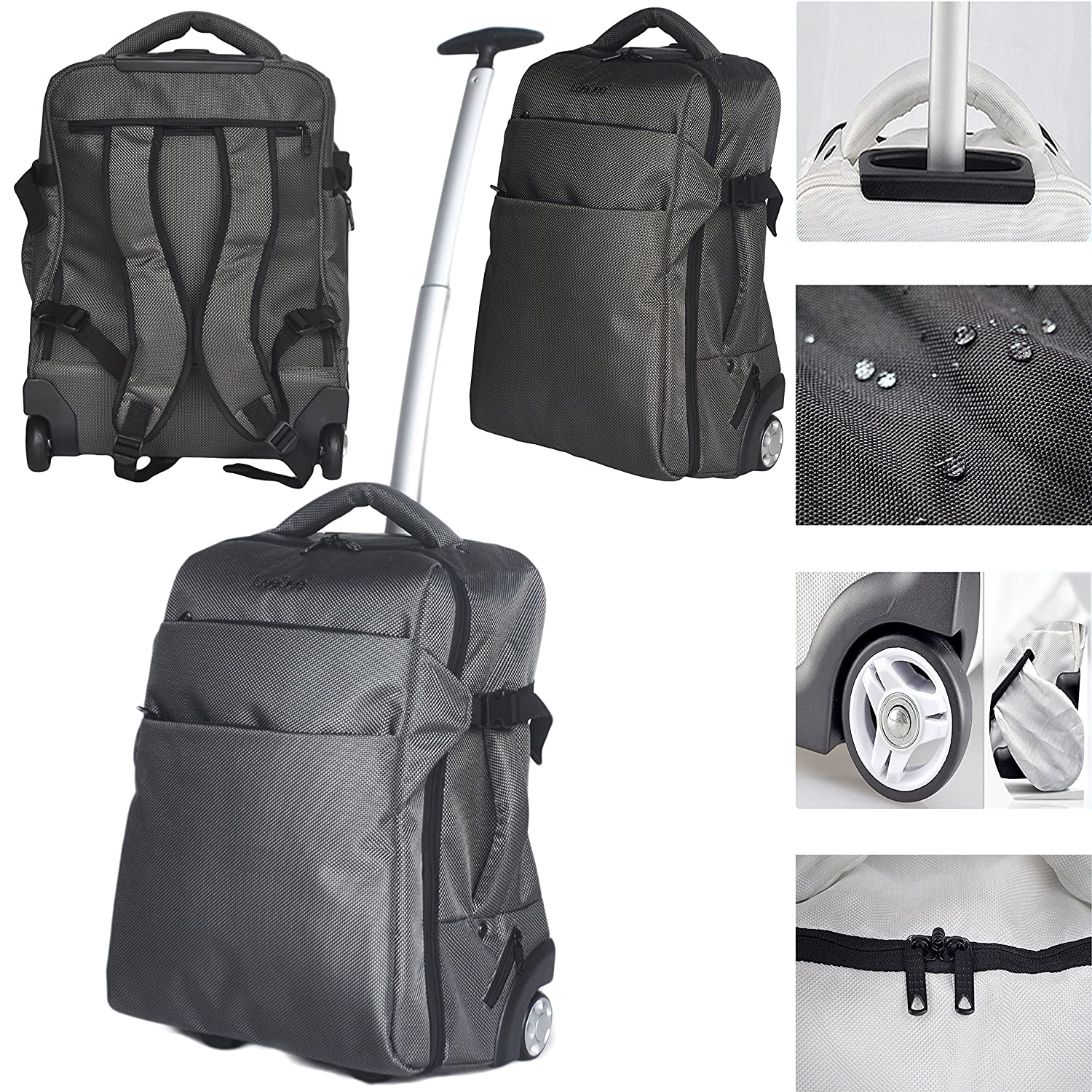 745057a8da6f 3 in 1 Wheeled Cabin Approved Trolley Travel Bag Flight Backpack Hand  Luggage Suitcase Holdall Laptop ...