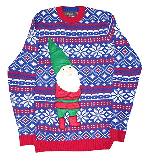 33 Degrees Christmas Santa Gnome On Blue Red Fair Isle Pullover