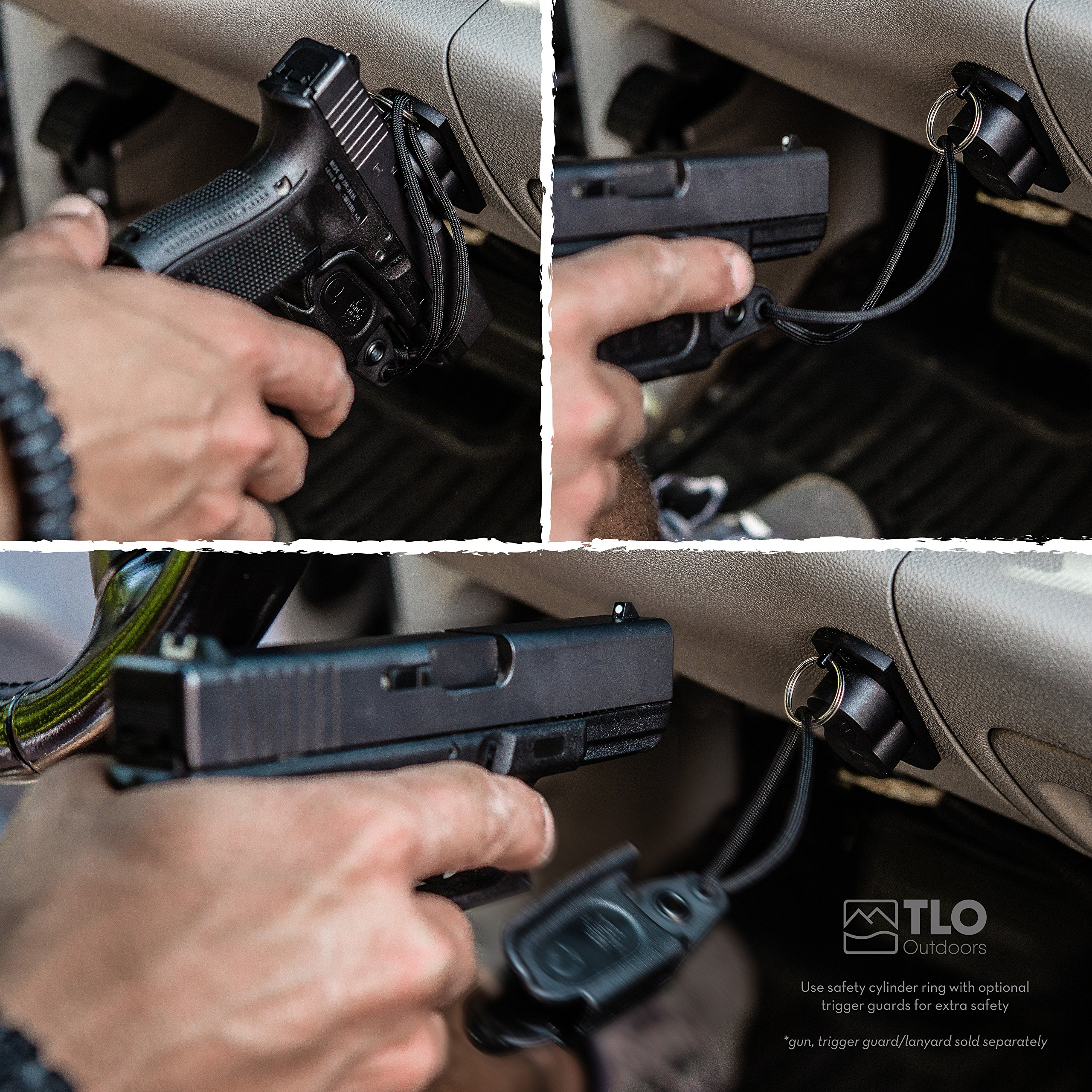 TLO Outdoors GunMag Gun Magnet [2-Pack] - Magnetic Gun Holster Mount for Car, Truck, Home, Office, Gun Safe with Exclusive Safety Cylinder by TLO Outdoors (Image #2)