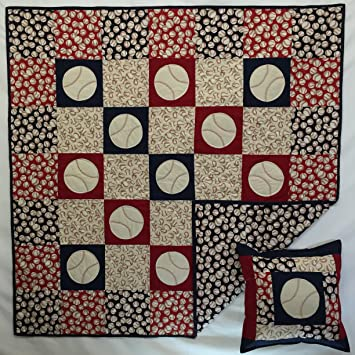 Amazon Play Ball Baseball Quilt In Red White And Blue With Fascinating Baseball Quilt Pattern