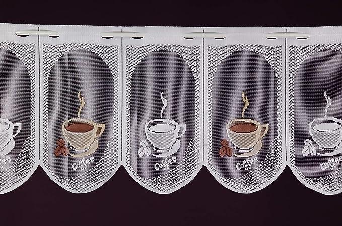 Panneau /à lamelles Caf/é Espresso Brise-bise Hauteur 30 cm Albani Voilage sur Mesure Jacquard Largeur du Rideau par paliers de 15 cm au Choix Blanc//Marron