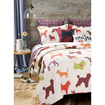 Amazon Ja 3 Piece Off White Dog Themed Quilt Full Queen Set