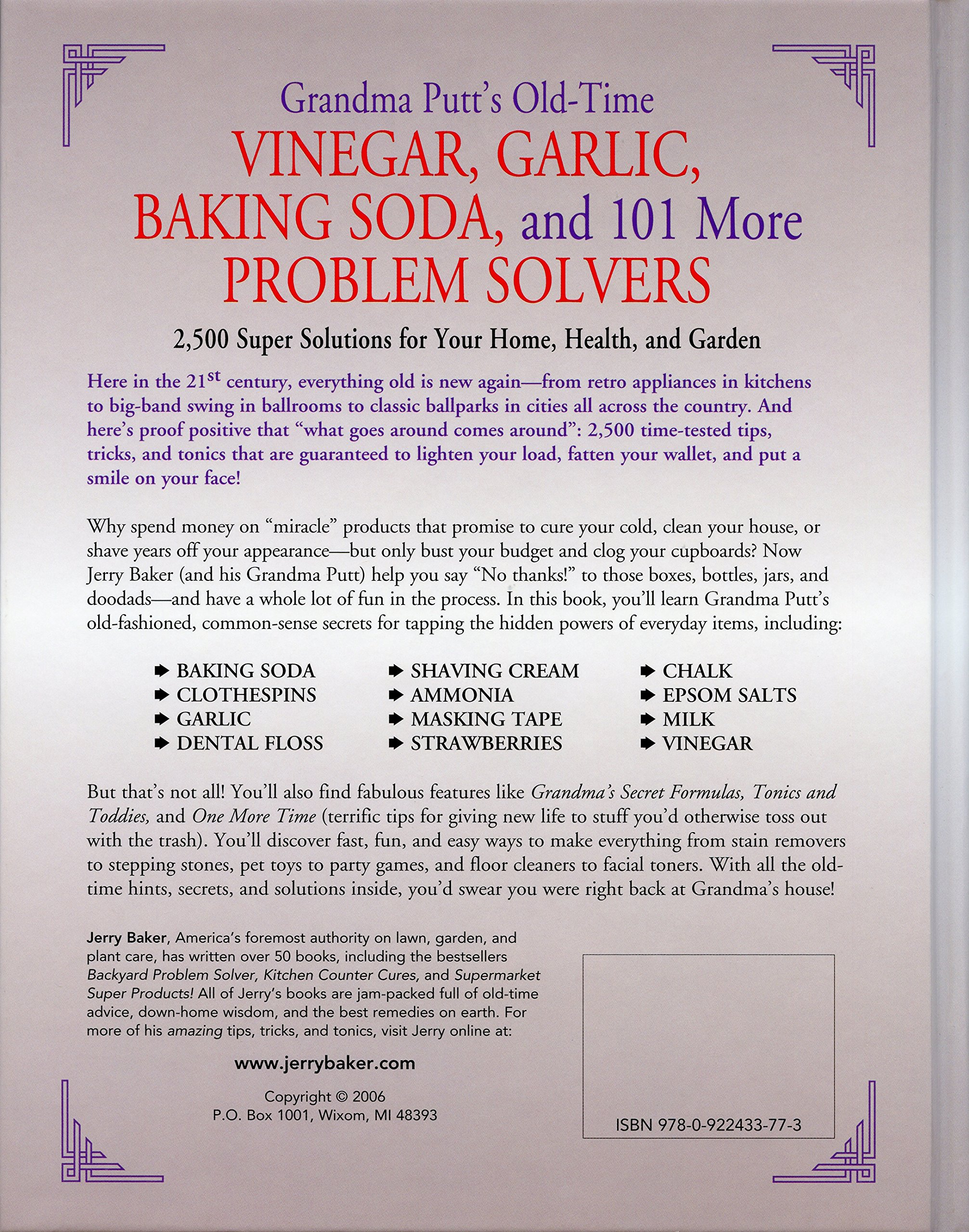 grandma putt s old time vinegar garlic baking soda and more grandma putt s old time vinegar garlic baking soda and 101 more problem solvers 2 500 super solutions for your home health and garden jerry baker