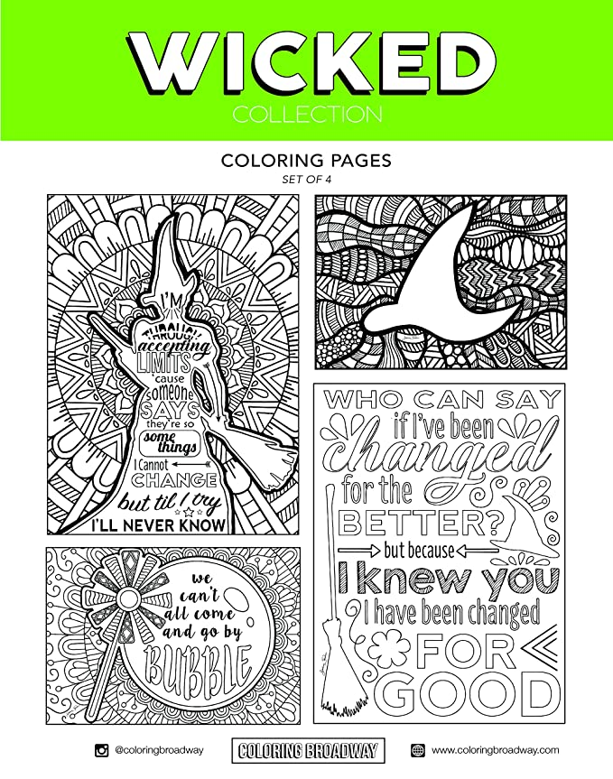 Amazon.com : Coloring Broadway Wicked Card stock Coloring Pages (8 1 ...