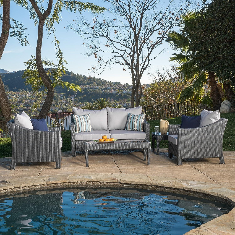 Amazon.com: Caspian Grey 4 Piece Outdoor Wicker Furniture Patio Chat Set:  Kitchen U0026 Dining