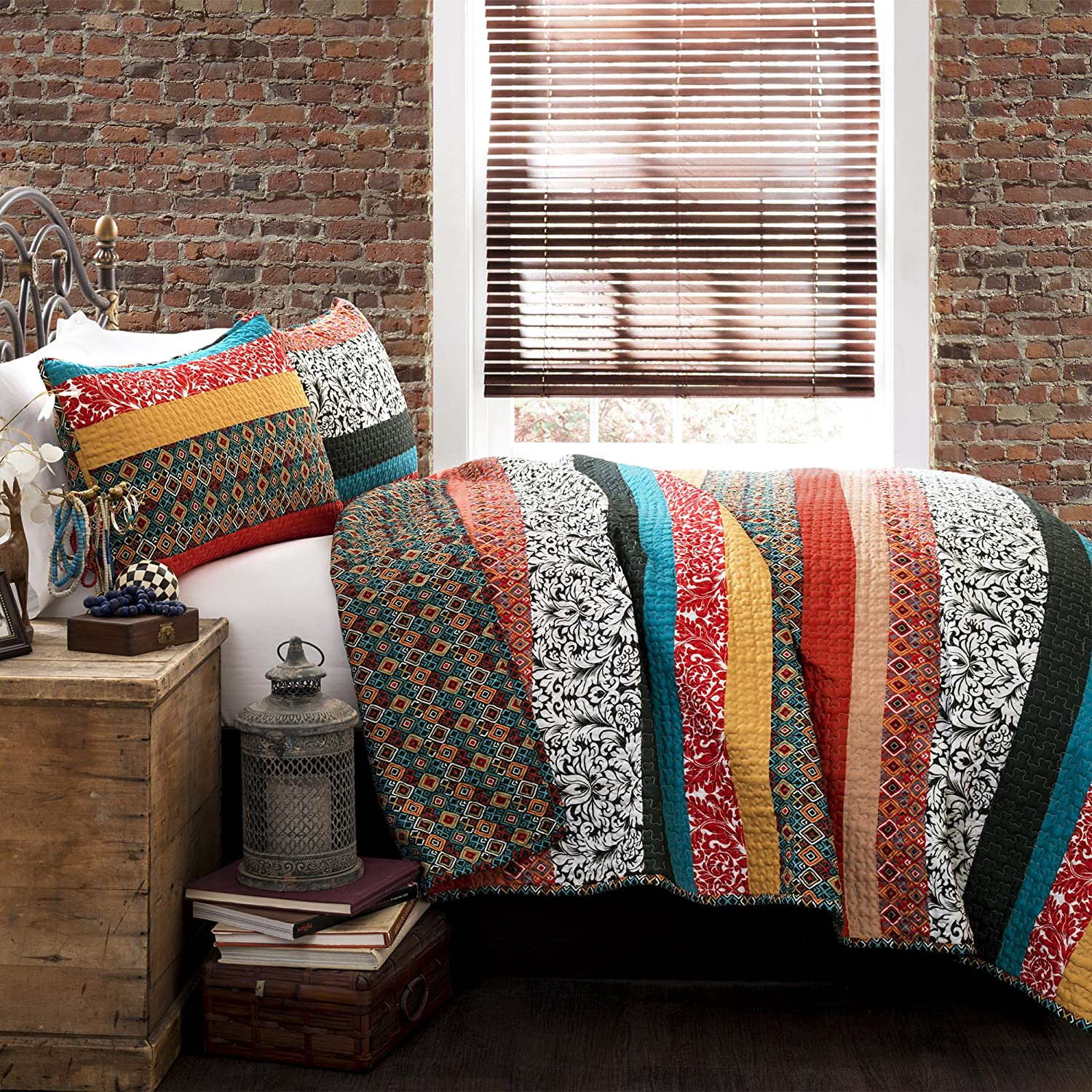 Lush Decor Boho Stripe Quilt Reversible 3 Piece Bohemian Design Bedding Set - King - Turquoise and Tangerine