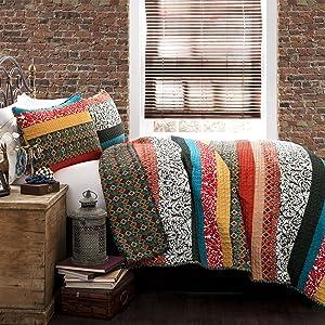 Lush Decor Boho Stripe Quilt Reversible 3 Piece Bohemian Design Bedding Set, Full - Queen, Turquoise & Tangerine