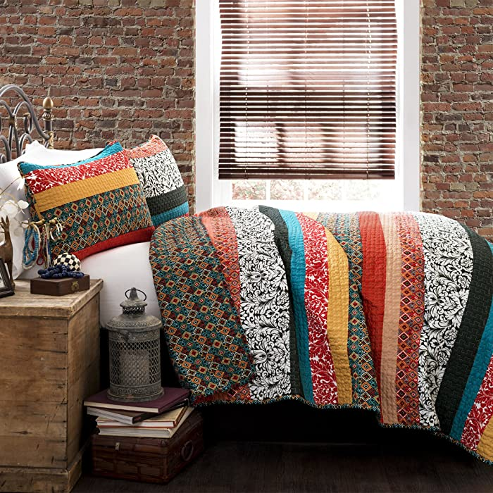 Lush Decor Boho Stripe Quilt Reversible 3 Piece Bohemian Design Bedding Set, Full - Queen, Turquoise & Tangerine