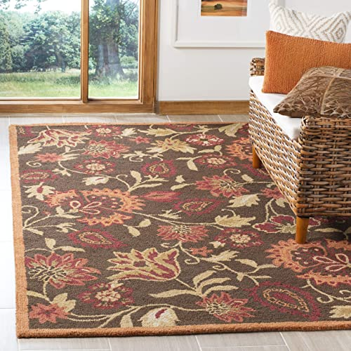 Safavieh Blossom Collection BLM861A Handmade Brown and Multi Premium Wool Area Rug 6' x 9'