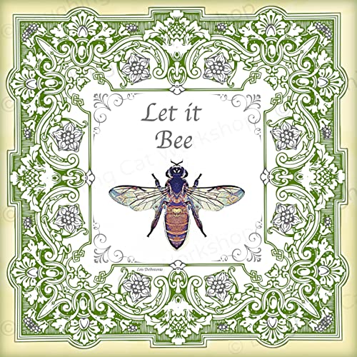 Amazon.com: Bee Art Funny Quote print Vintage Green French Country ...