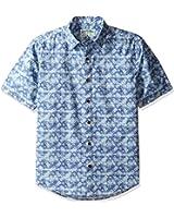 Margaritaville Men's Short Sleeve Lattice Print Shirt