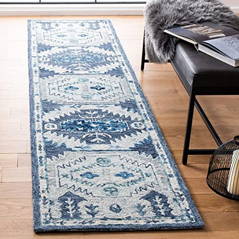 Amazon Com Safavieh Capri Collection Cpr218m Handmade Premium Wool Runner 2 3 X 9 Blue Grey Furniture Decor