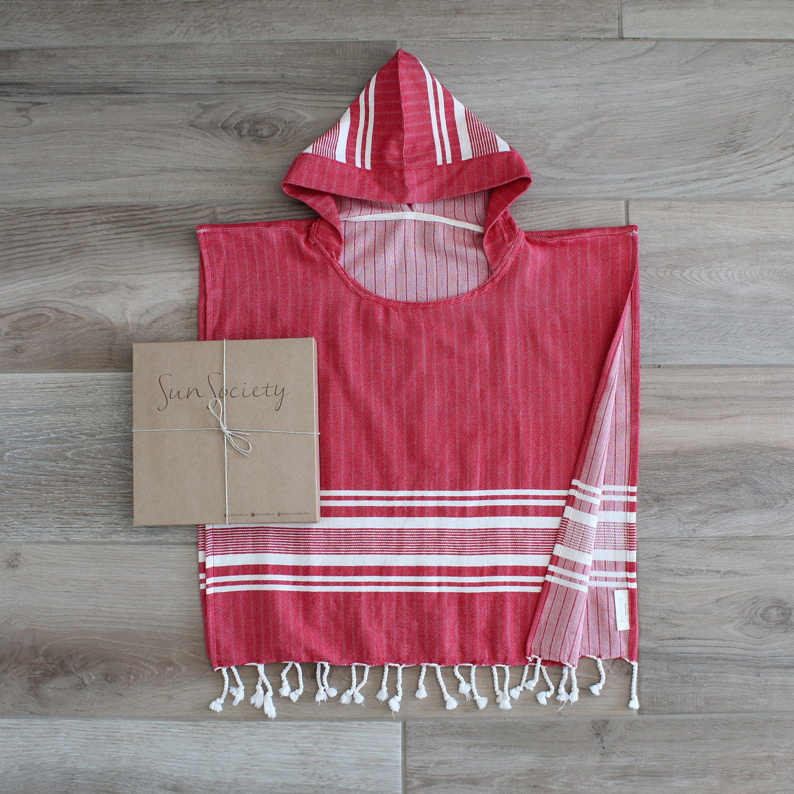 Sun Society Children's Poncho Towel - Sol Red. Hooded. Comes in Gift Box, 100% Cotton