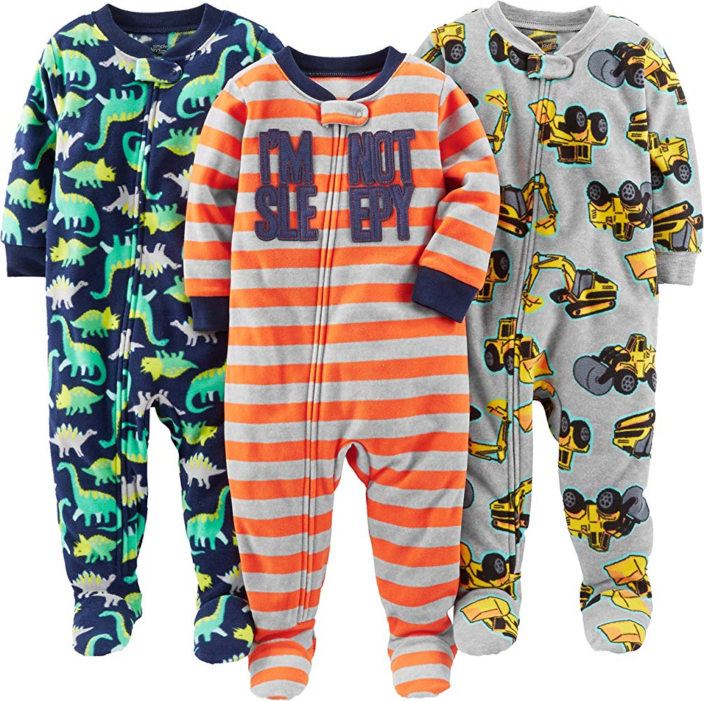 Pacco da 3 Simple Joys by Carters 3-Pack Loose Fit Flame Resistant Fleece Footed Pajamas Bimbo 0-24