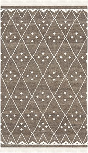 Safavieh Natural Kilim Collection NKM316A Flatweave Brown and Ivory Wool Area Rug 2 x 3