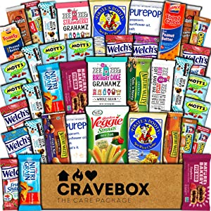 CraveBox Healthy Care Package (40 Count) Natural Food Bars Nuts Fruit Health Nutritious Snacks Variety Gift Box Pack Assortment Basket Bundle Mix Sampler College Students Final Exams Boy Office Summer