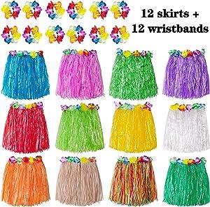 jollylife 12PCS Hawaiian Luau Hula Skirts + 12PCS Wristbands - Hibiscus Flowers Birthday Tropical Party Decorations Favors Supplies