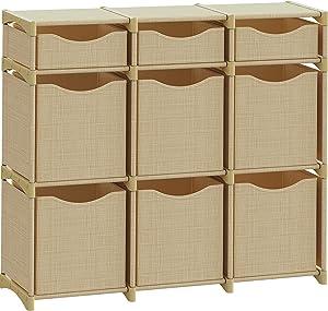 9 Cube Organizer | Set of Storage Cubes Included | DIY Closet Organizer Bins | Cube Organizers and Storage Shelves Unit | Closet Organizer for Bedroom, Playroom, Livingroom, Office, Dorm (Beige)