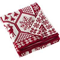 "SARO LIFESTYLE Sevan Collection Christmas Design Knitted Throw Blanket, 50"" x 60"", Red Tone"