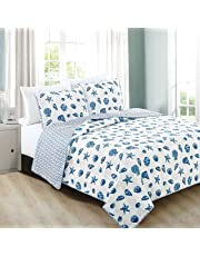 3485edbb4323b Home Fashion Designs 3-Piece Coastal Beach Theme Quilt Set with Shams. Soft  All