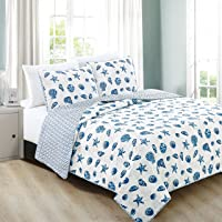 3-Piece Coastal Beach Theme Quilt Set with Shams. Soft All-Season Luxury Microfiber Reversible Bedspread and Coverlet. Fenwick Collection by Home Fashion Designs Brand.