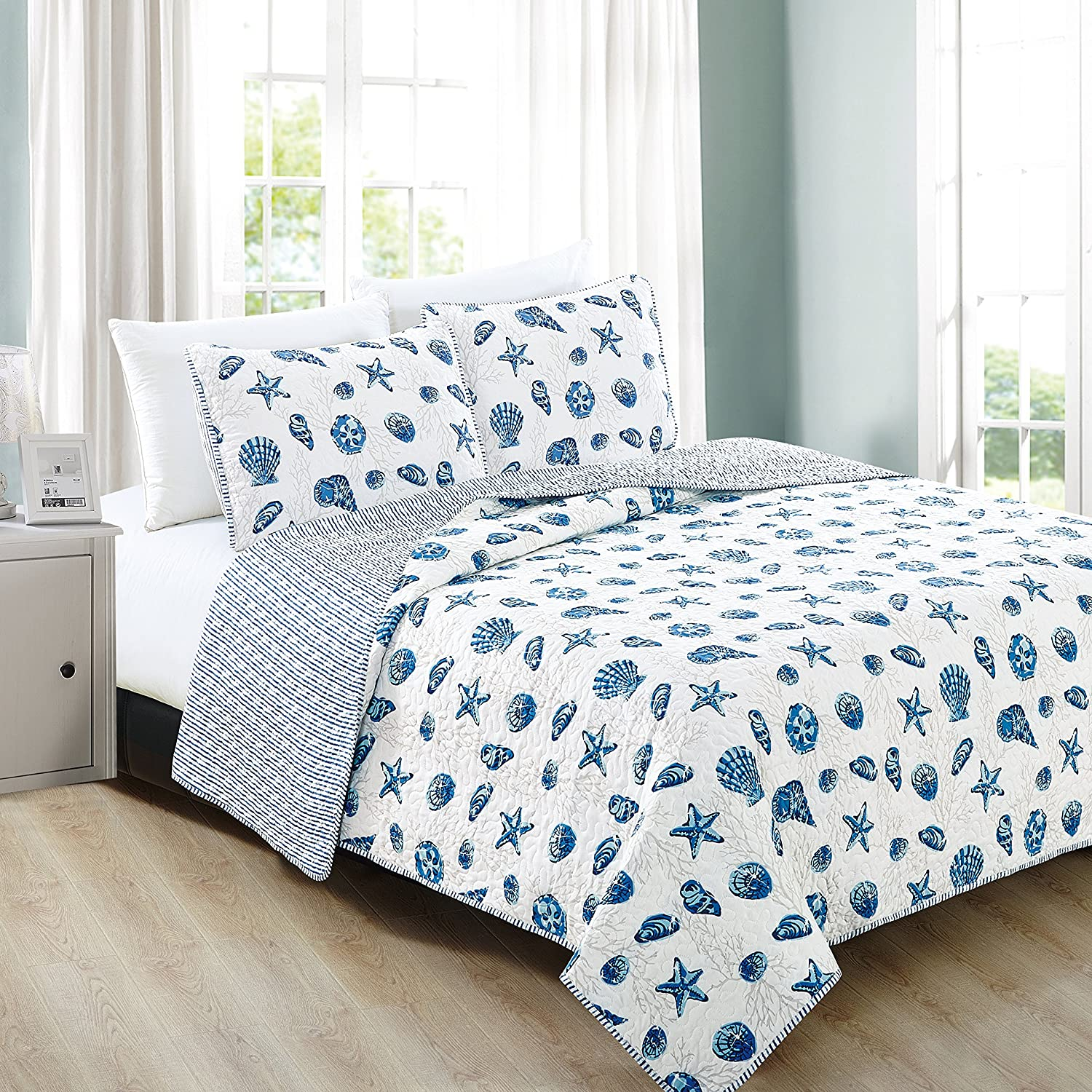 Home Fashion Designs 3-Piece Coastal Beach Theme Quilt Set with Shams. Soft All-Season Luxury Microfiber Reversible Bedspread and Coverlet. Bali Collection Brand. (Full/Queen, Blue)