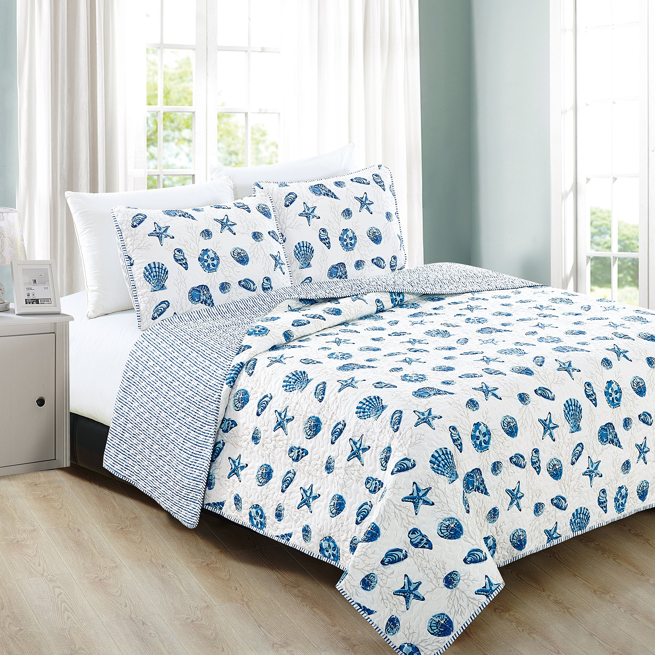 Home Fashion Designs 3-Piece Coastal Beach Theme Quilt Set with Shams. Soft All-Season Luxury Microfiber Reversible Bedspread and Coverlet. Bali Collection By Brand. (Full/Queen, Blue)