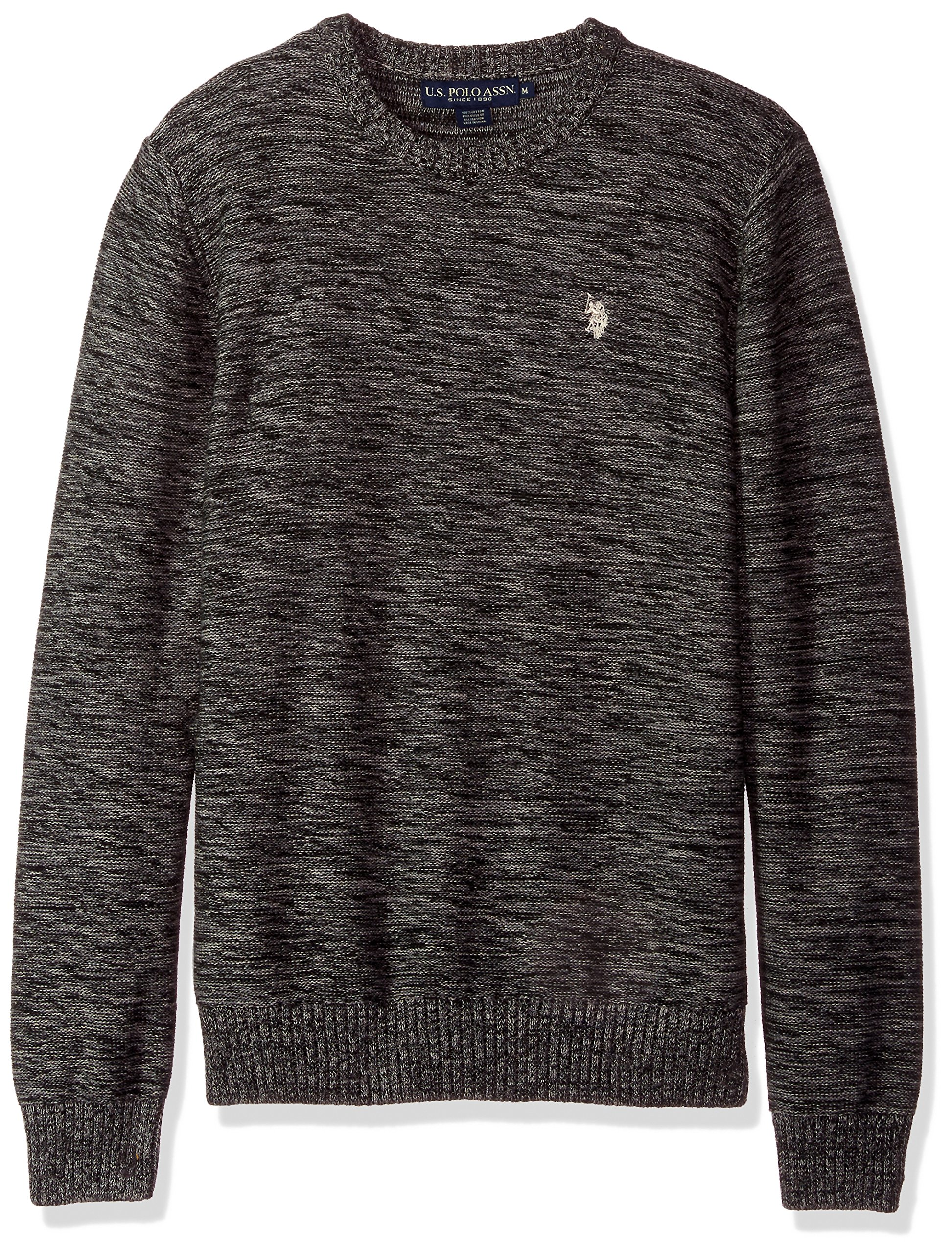 U.S. Polo Assn. Men's MARL Reverse Jersey Crew Neck Sweater, Coal MARL, Medium