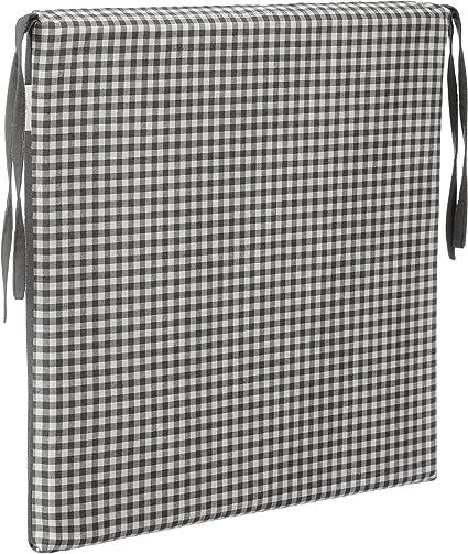 Brandsseller Coj/ín acolchado a cuadros para silla 40 x 40 cm