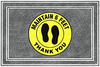 product image for Apache Mills - BLTA Social Distancing Mat Maintain 6 Feet Circle Black/Yellow/Gray 24x36