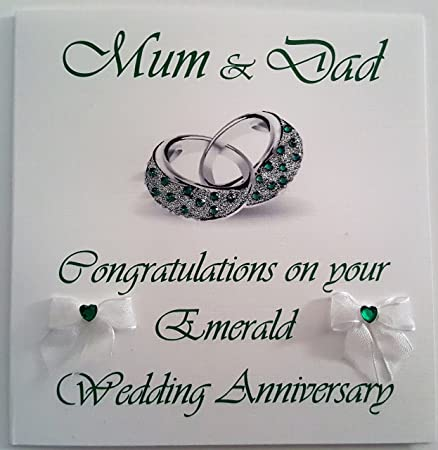 Happy Emerald Wedding Anniversary Mum And Dad Handmade Card