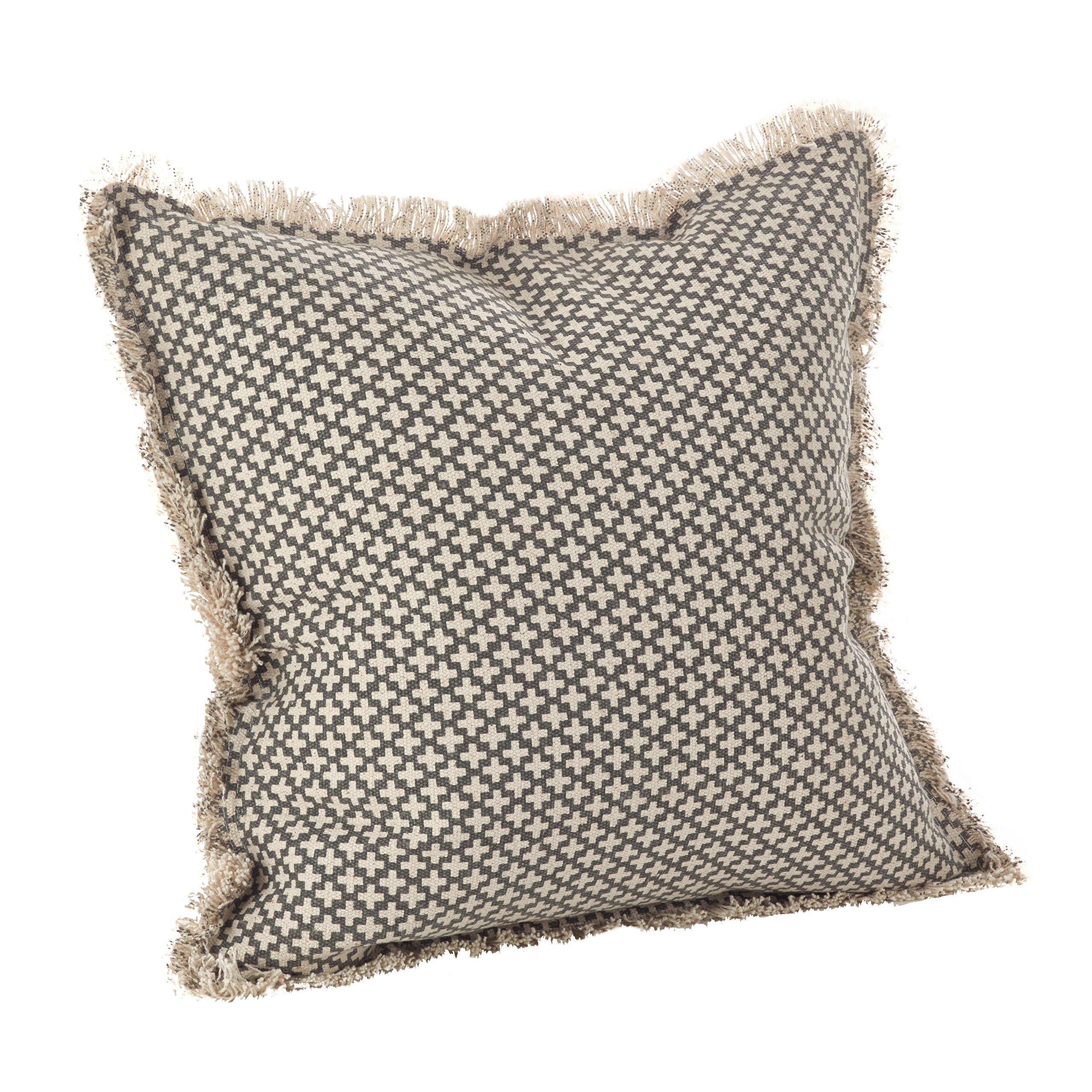 SARO LIFESTYLE Corinth Collection Moroccan Tile Design Down Filled Cotton Throw Pillow, 20'', Slate by SARO LIFESTYLE