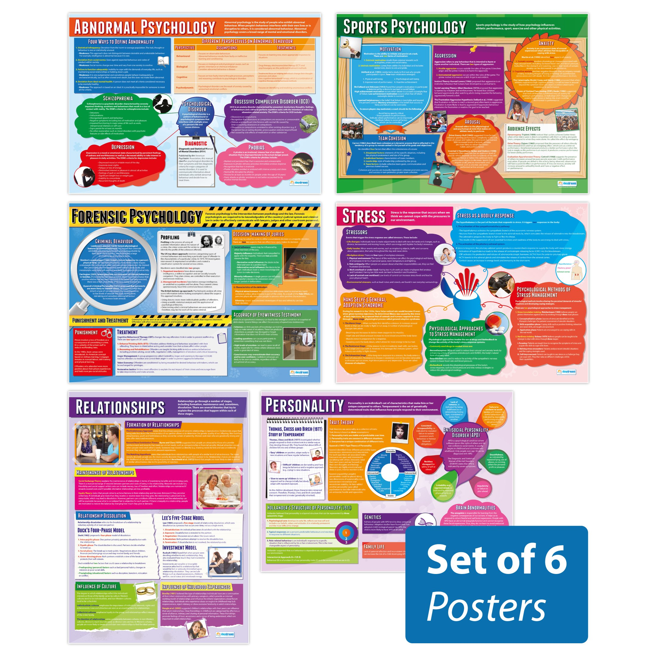 Psychology in Action Posters - Set of 6 | Psychology Posters | Gloss Paper Measuring 33'' x 23.5'' | Psychology Charts for The Classroom | Education Charts by Daydream Education