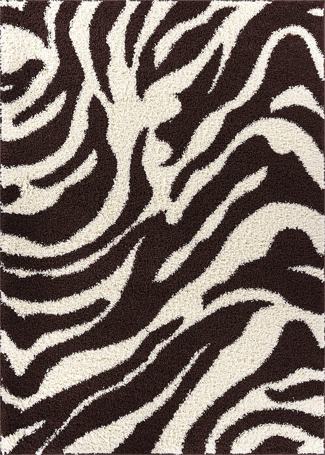 Amazon Com Zebra Shag Brown Ivory Plush Modern Animal Print 2x3