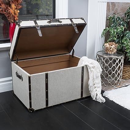 Etonnant Clarkson Grey Upholstered Storage Trunk