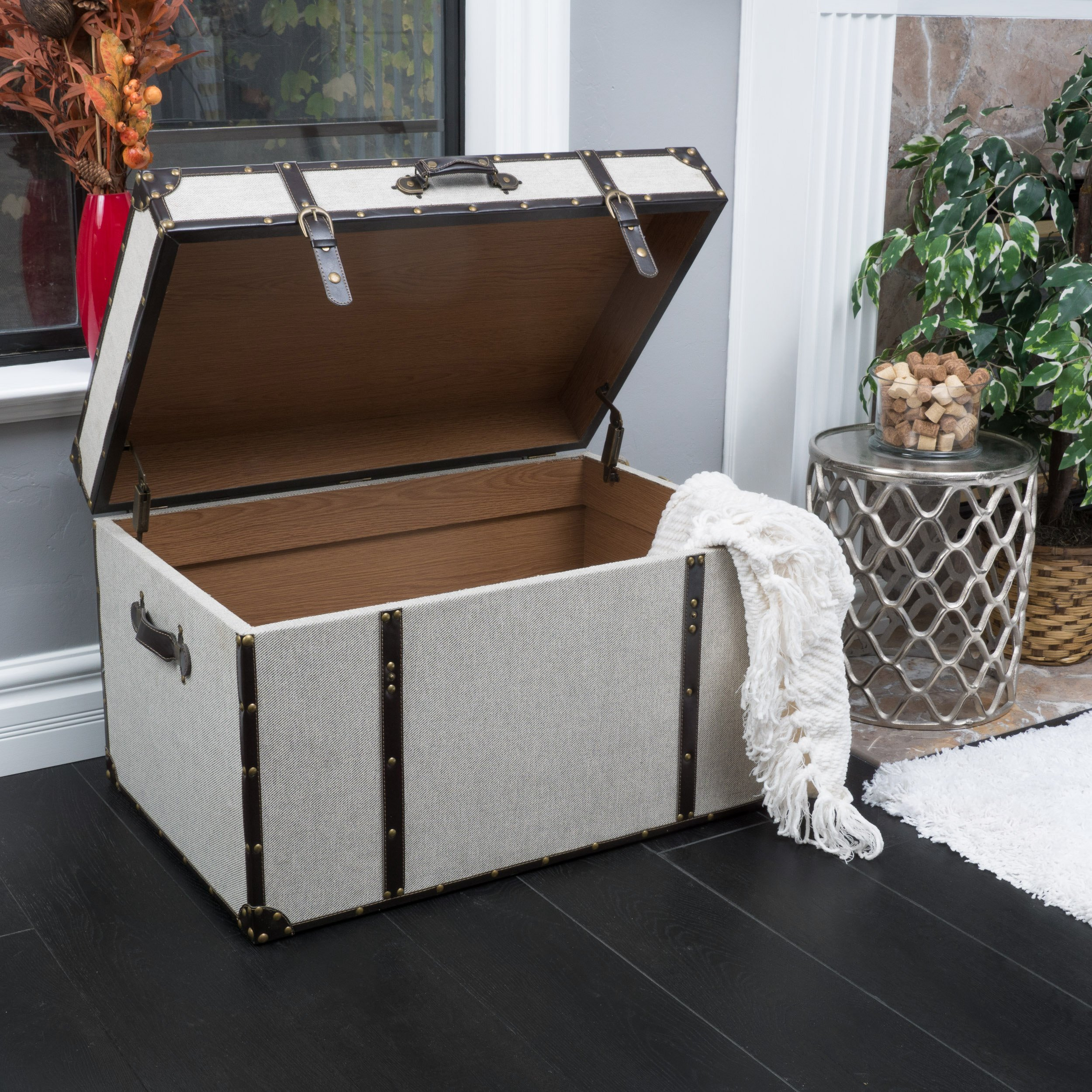 Clarkson Grey Upholstered Storage Trunk by Great Deal Furniture