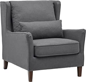 "Stone & Beam Sascha Removable Cushion Wingback Accent Chair, 34.6""W, Deep Grey"