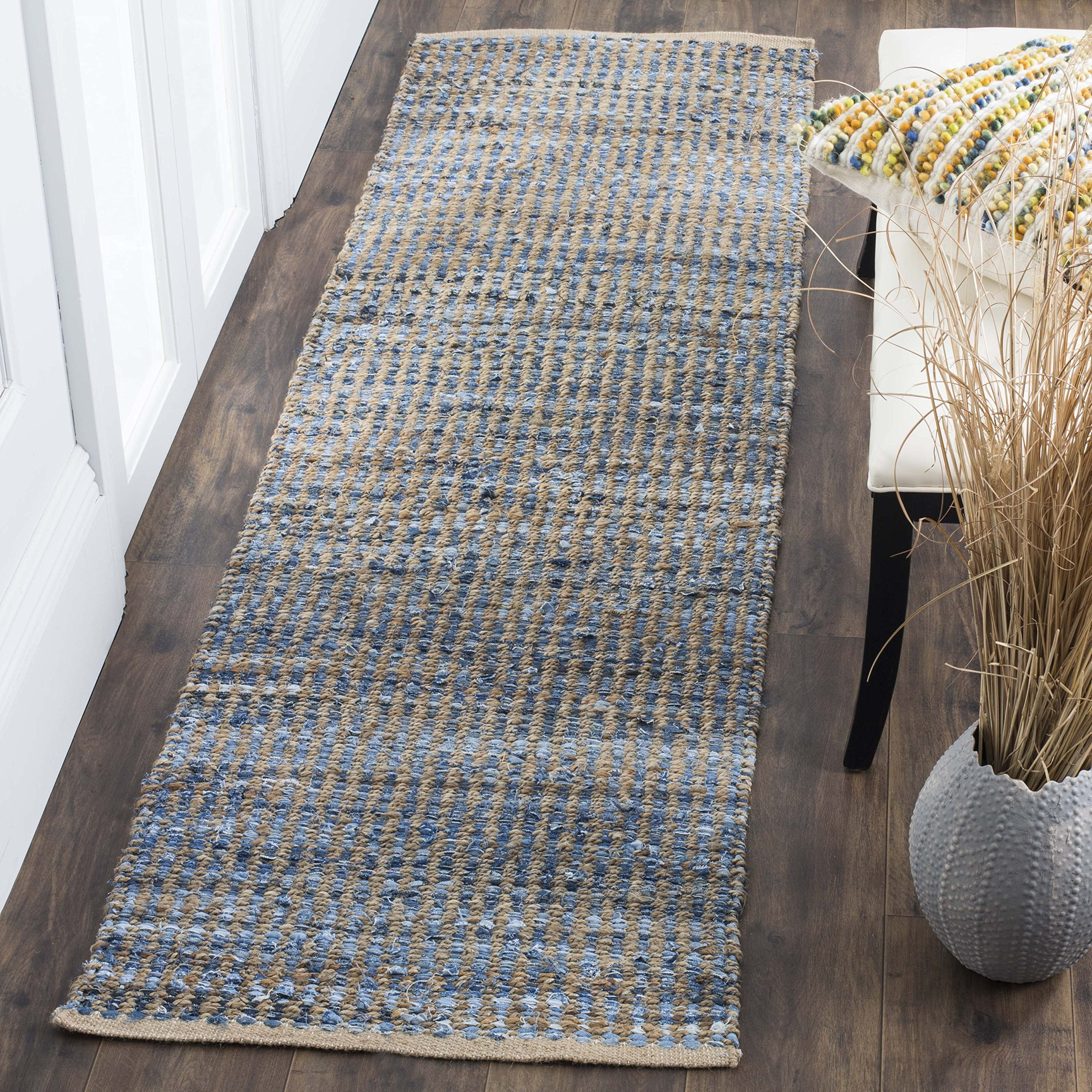 Safavieh Cape Cod Collection CAP352A Hand Woven Flatweave Natural and Blue Striped Jute Runner (2'3'' x 6') by Safavieh