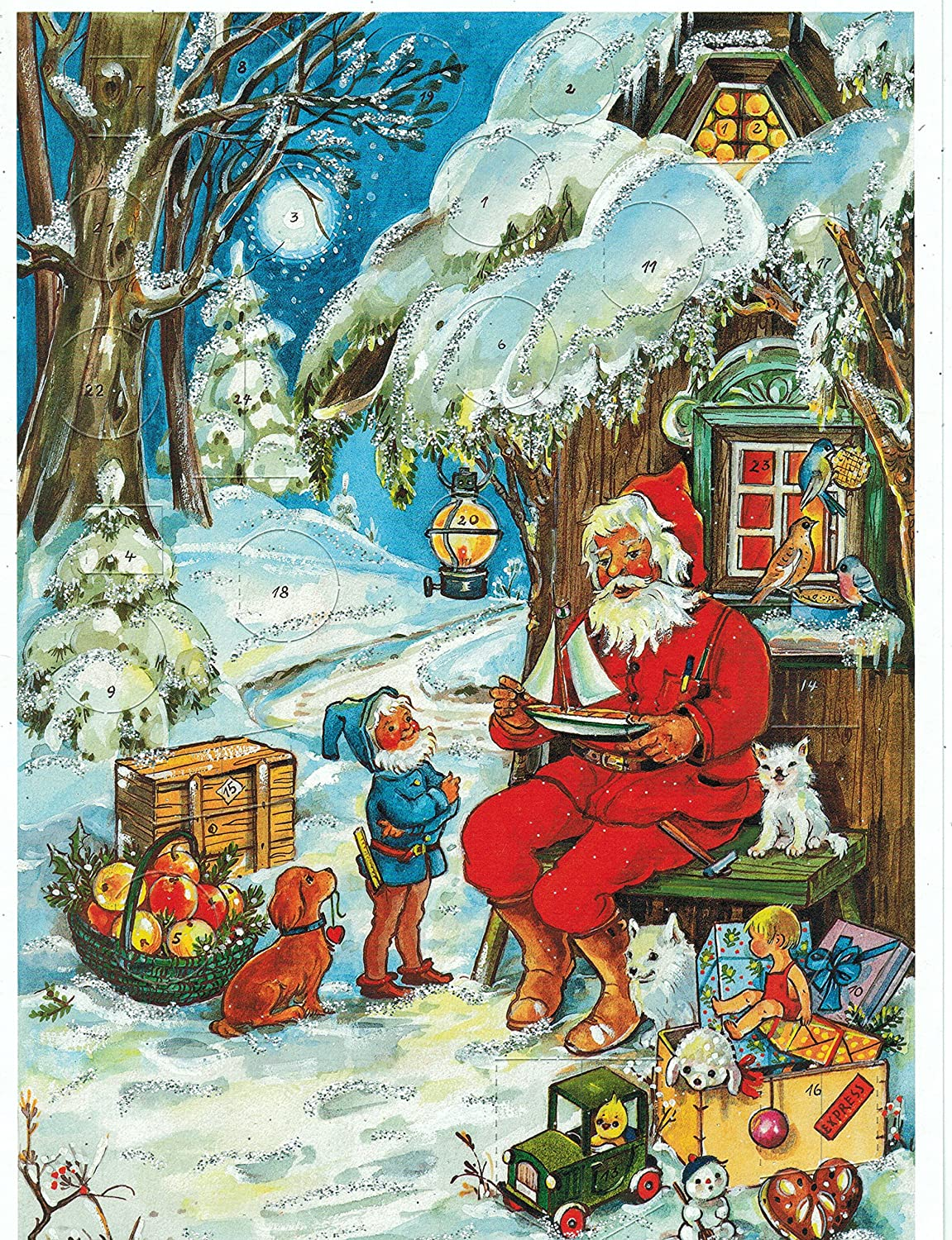 Advent Calendar 24 doors 297 x 210 mm - Snow Scene Santa Claus - with glitter and translucent windows - RS802 - traditional antique German Design Richard Sellmer Verlag RS 802