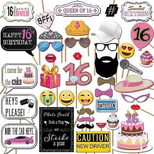 Amazon.com: Sweet 16 cumpleaños Kit de fiesta de Photo Booth ...